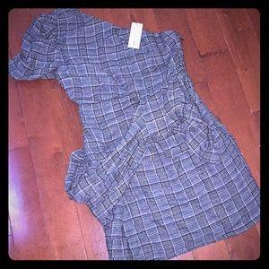 BEBE plaid one shoulder dress